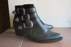 river island 'michelle' black leather western buckle strappy boots